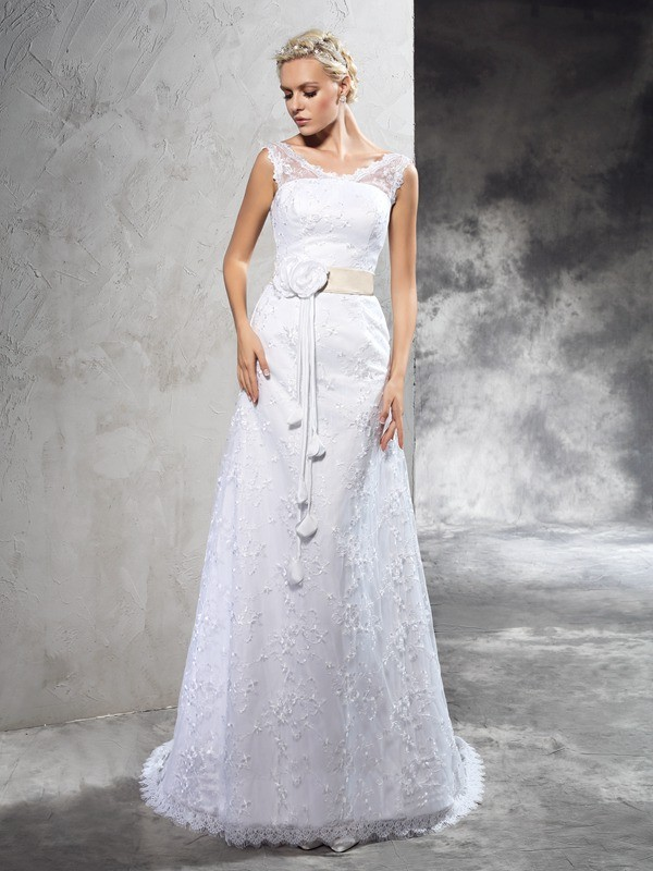 Sheath Satin Sheer Neck Sleeveless Court Train With Hand-Made Flower Wedding Dresses