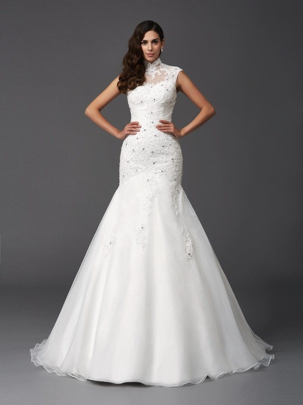 Mermaid Organza High Neck Sleeveless Sweep/Brush Train With Beading Wedding Dresses