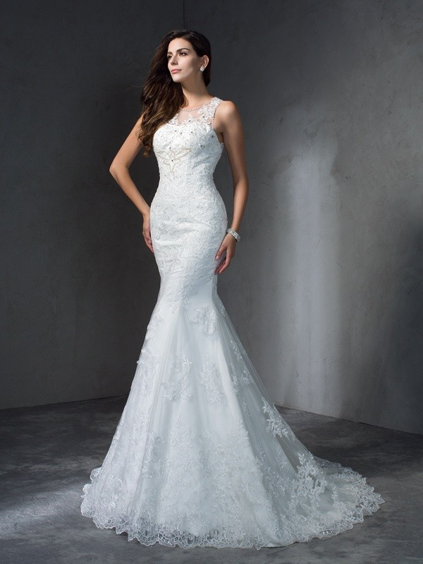 Mermaid Lace Scoop Sleeveless Court Train With Applique Wedding Dresses