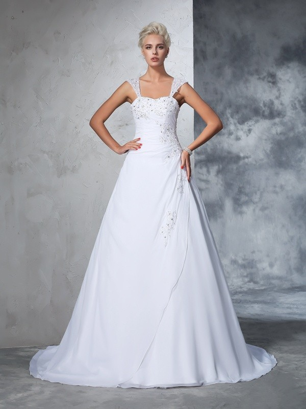 Ball Gown Chiffon Straps Sleeveless Court Train With Applique Wedding Dresses