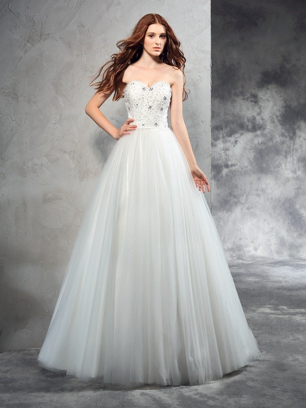 A-Line Net Sweetheart Sleeveless Floor-Length With Beading Wedding Dresses