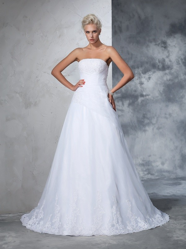 Ball Gown Net Strapless Sleeveless Court Train With Applique Wedding Dresses