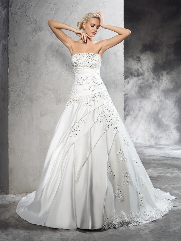 Ball Gown Satin Strapless Sleeveless Court Train With Beading Wedding Dresses