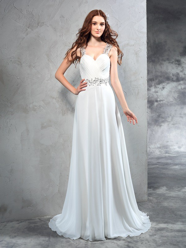A-Line Chiffon Sweetheart Sleeveless Sweep/Brush Train With Pleats Wedding Dresses