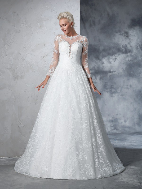 Ball Gown Lace Jewel Long Sleeves Court Train With Lace Wedding Dresses