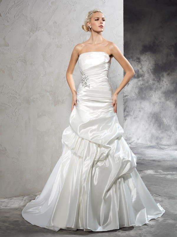 Sheath Satin Strapless Sleeveless Court Train With Pleats Wedding Dresses