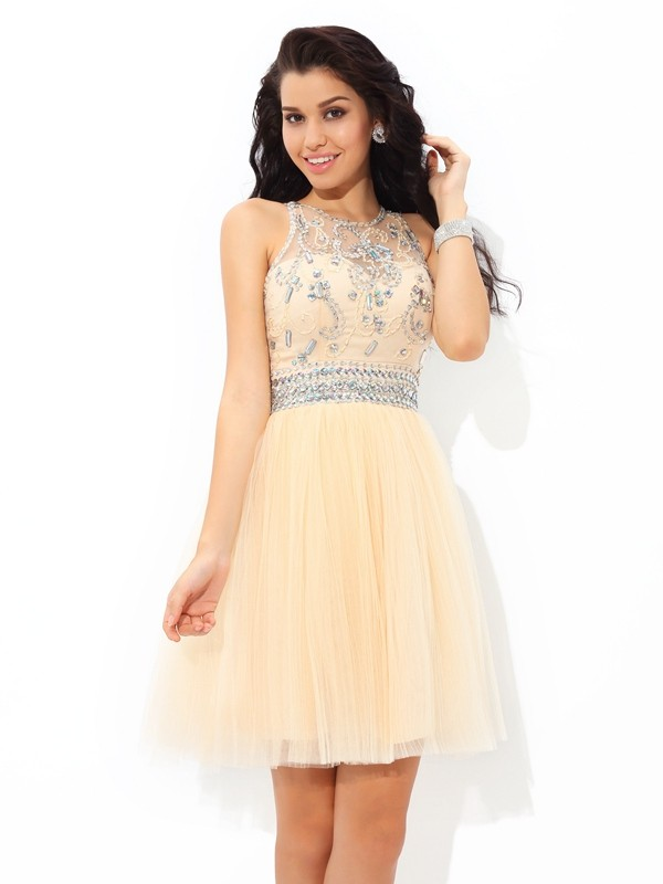 A-Line Net Sheer Neck Sleeveless Short/Mini With Beading Dresses