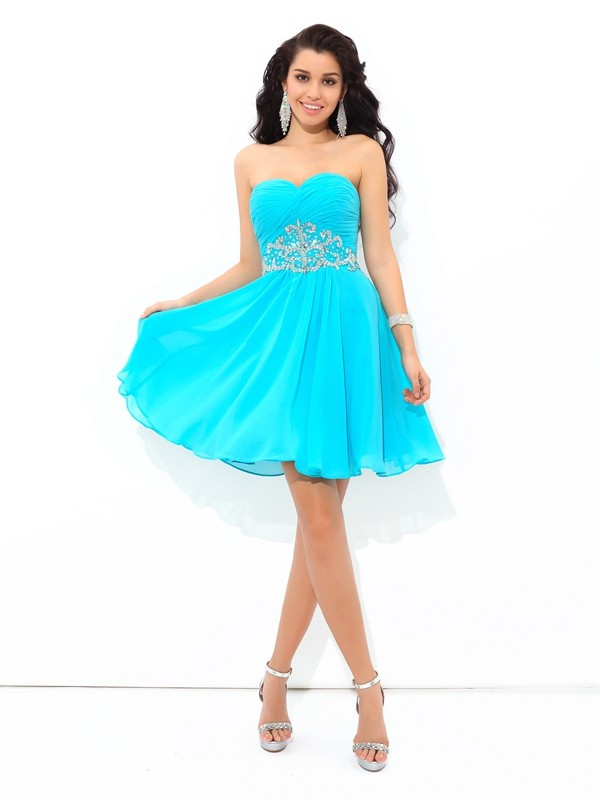 A-Line Chiffon Sweetheart Sleeveless Short/Mini With Pleats Dresses