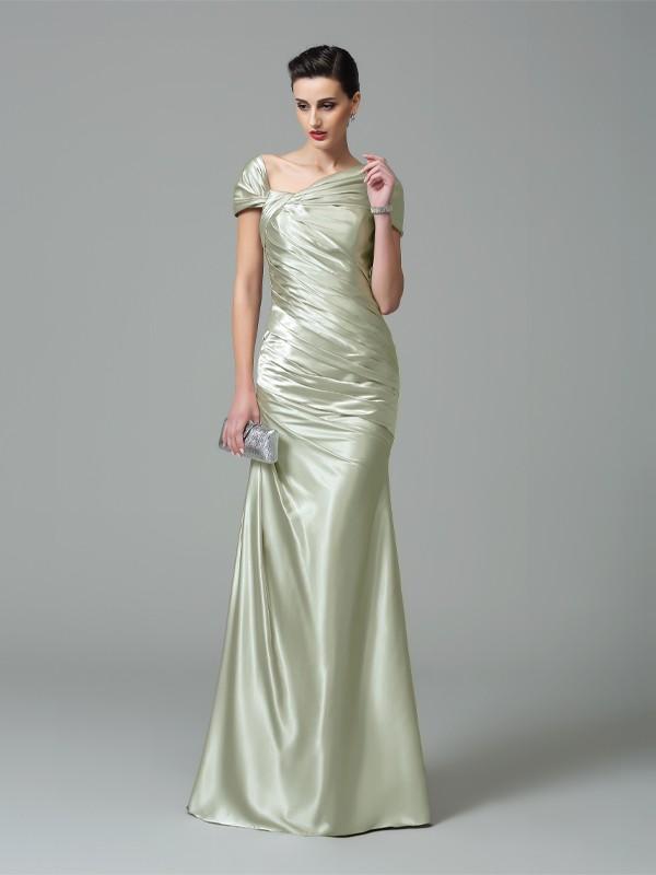 Sheath Silk like Satin Off-the-Shoulder Sleeveless Floor-Length With Pleats Dresses