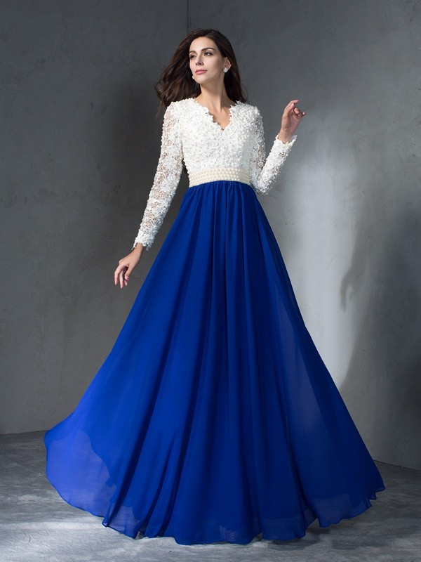 A-Line Chiffon V-neck Long Sleeves Floor-Length With Lace Dresses