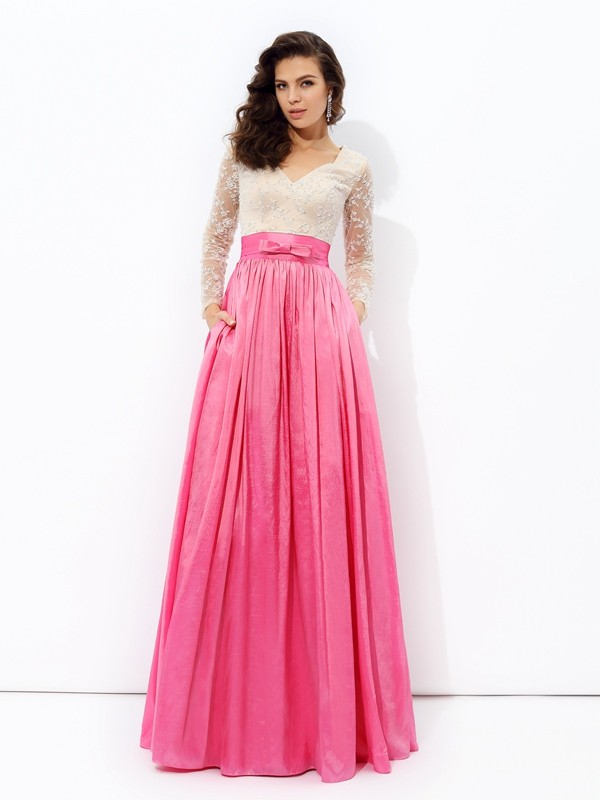 A-Line Taffeta V-neck Long Sleeves Floor-Length With Lace Dresses