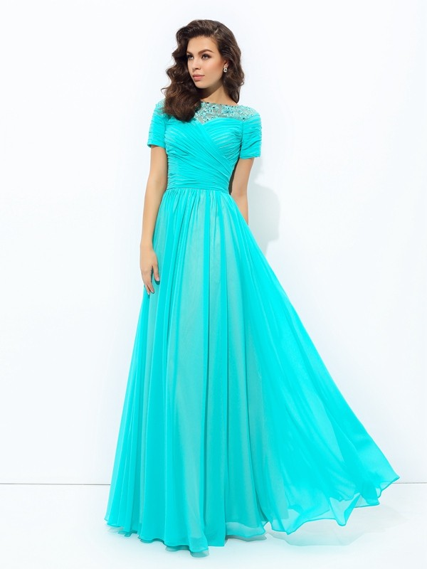 A-Line Chiffon Bateau Short Sleeves Floor-Length With Lace Dresses