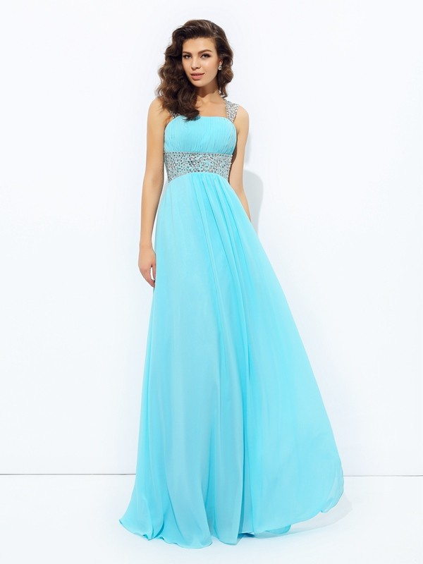 A-Line Chiffon Straps Sleeveless Floor-Length With Sequin Dresses