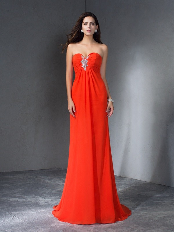A-Line Chiffon Sweetheart Sleeveless Sweep/Brush Train With Beading Dresses