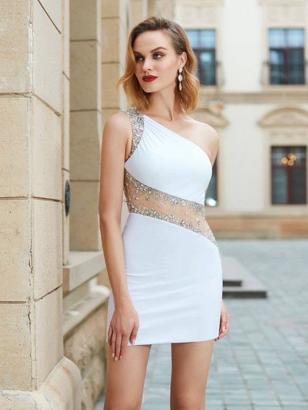 Sheath Net One-Shoulder Sleeveless Short/Mini With Beading Dresses