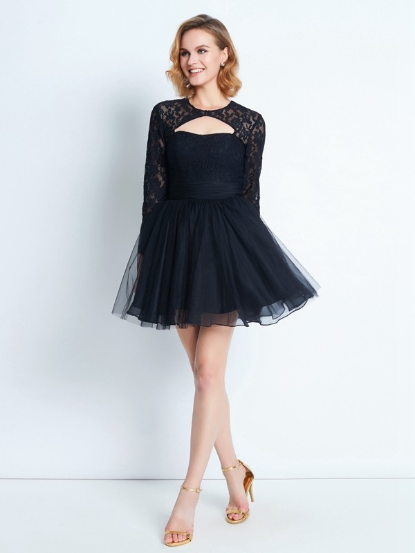 A-Line Net High Neck Long Sleeves Short/Mini With Lace Dresses