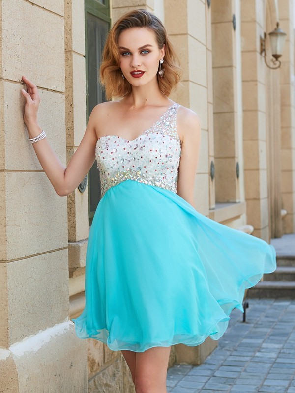 A-Line Chiffon One-Shoulder Sleeveless Short/Mini With Beading Dresses