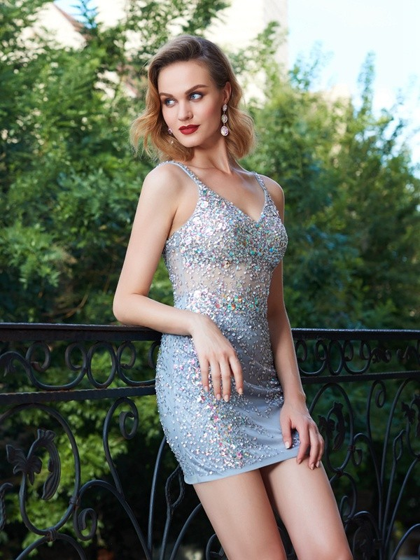Sheath Net Spaghetti Straps Sleeveless Short/Mini With Sequin Dresses