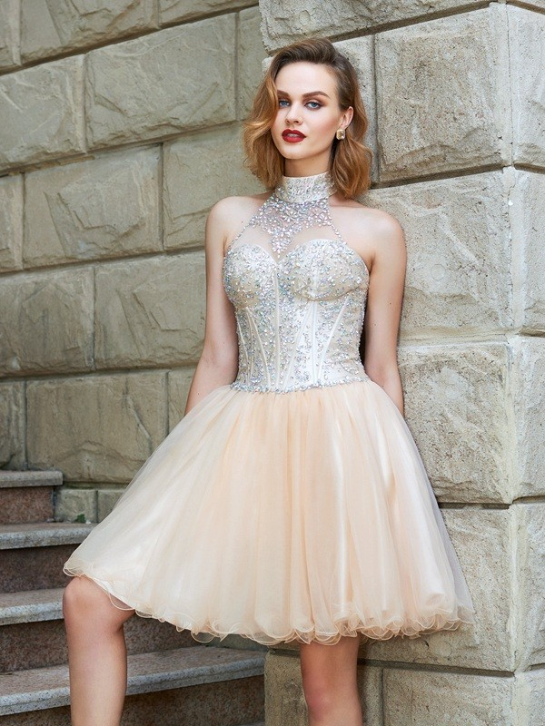 A-Line Net Halter Sleeveless Short/Mini With Beading Dresses