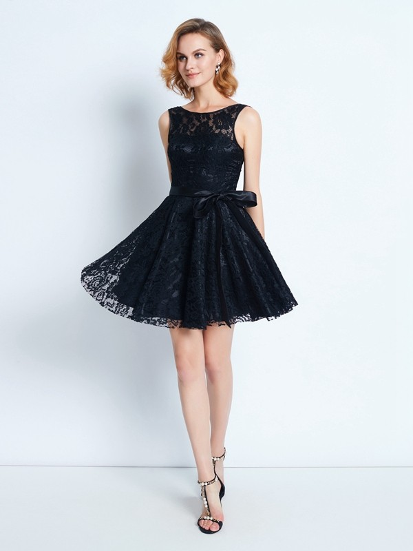 A-Line Lace Scoop Sleeveless Short/Mini With Sash/Ribbon/Belt Dresses