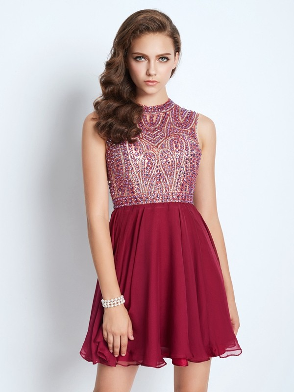A-Line Chiffon Jewel Sleeveless Short/Mini With Beading Dresses