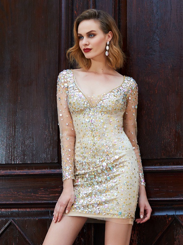 Sheath Net Scoop Long Sleeves Short/Mini With Rhinestone Dresses