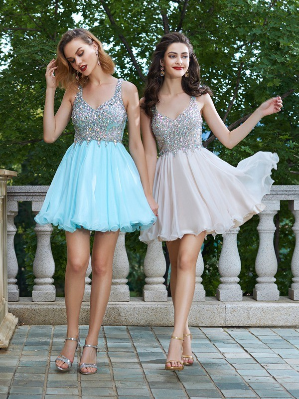 A-Line Chiffon Straps Sleeveless Short/Mini With Rhinestone Dresses