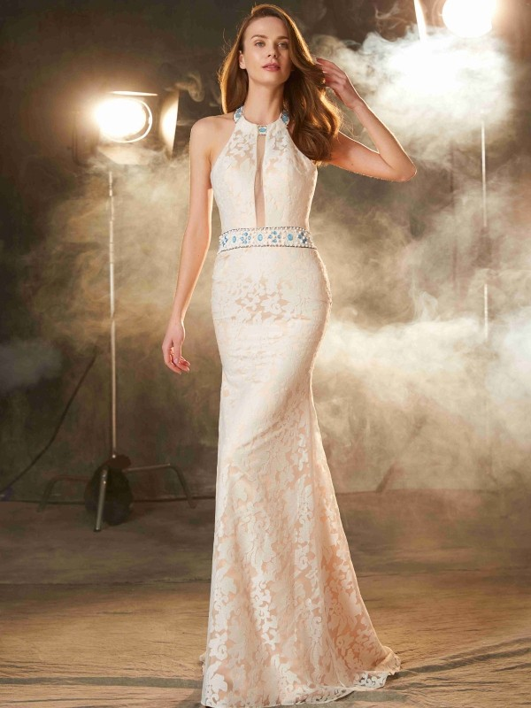 Sheath Lace Halter Sleeveless Floor-Length With Lace Dresses