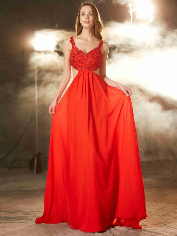 A-Line Chiffon Straps Sleeveless Sweep/Brush Train With Applique Dresses