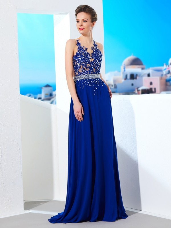 A-Line Chiffon Sheer Neck Sleeveless Sweep/Brush Train With Applique Dresses