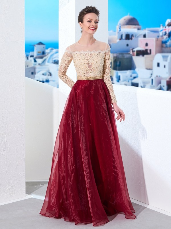 A-Line Organza Sheer Neck Long Sleeves Floor-Length With Applique Dresses