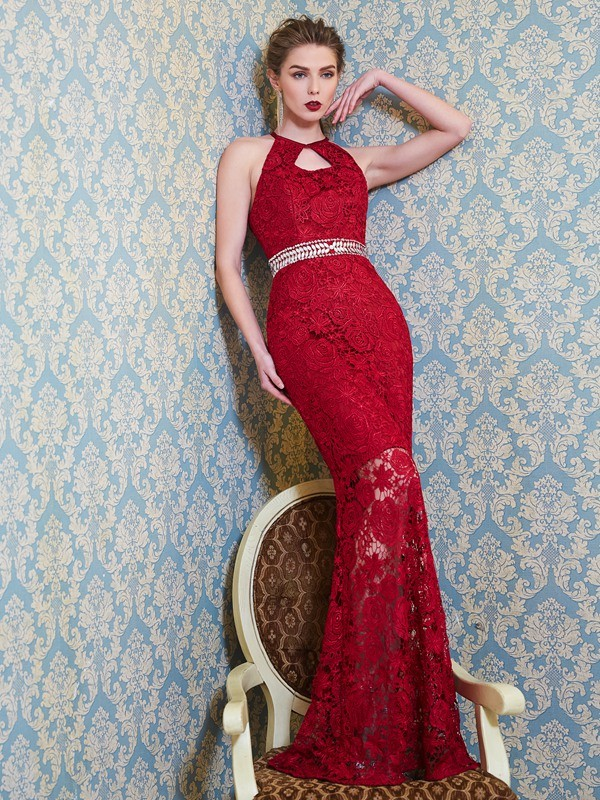 Sheath Lace Jewel Sleeveless Floor-Length With Beading Dresses