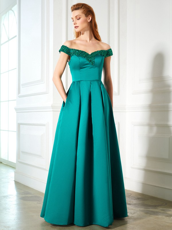 A-Line Satin Off-the-Shoulder Sleeveless Floor-Length With Sequin Dresses