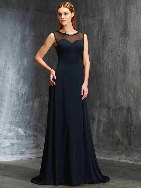 A-Line Spandex Scoop Sleeveless Sweep/Brush Train With Beading Dresses
