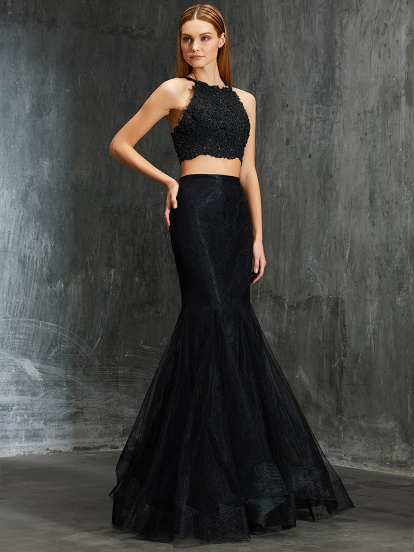 Mermaid Net Spaghetti Straps Sleeveless Floor-Length With Applique Two Piece Dresses