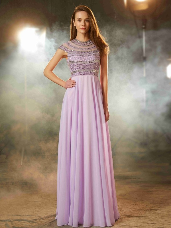 A-Line Chiffon Scoop Short Sleeves Floor-Length With Beading Dresses