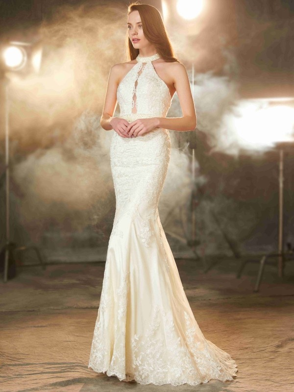 Sheath Elastic Woven Satin Jewel Sleeveless Floor-Length With Applique Dresses