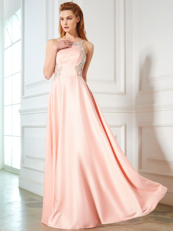 A-Line Satin Scoop Sleeveless Floor-Length With Beading Dresses