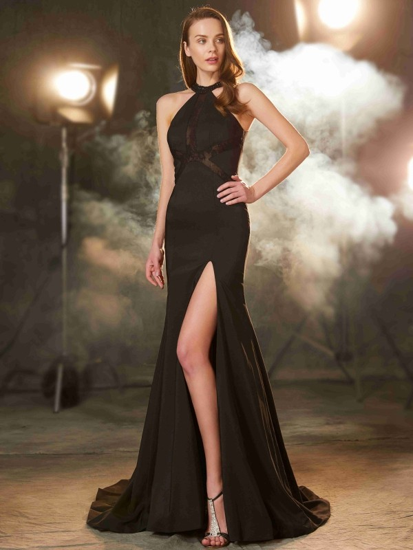 Sheath Elastic Woven Satin Jewel Sleeveless Sweep/Brush Train With Beading Dresses