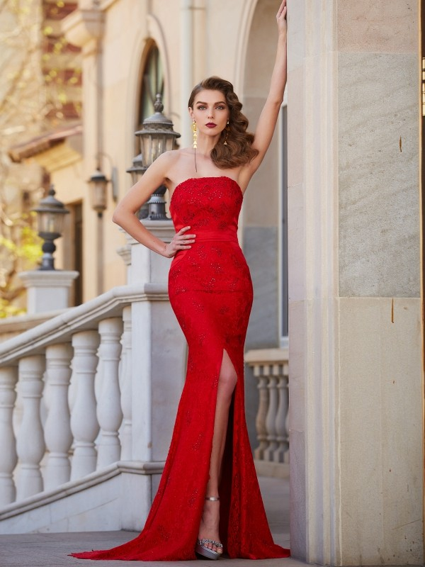 Mermaid Satin Strapless Sleeveless Sweep/Brush Train With Beading Dresses