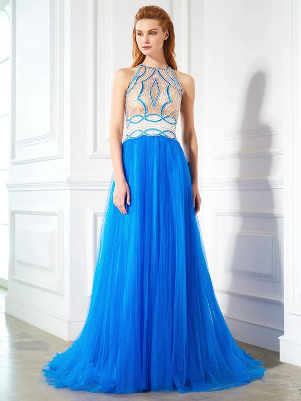 A-Line Net Jewel Sleeveless Floor-Length With Beading Dresses