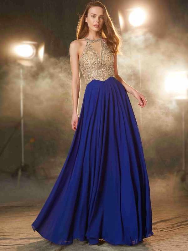 A-Line Chiffon Scoop Sleeveless Floor-Length With Crystal Dresses
