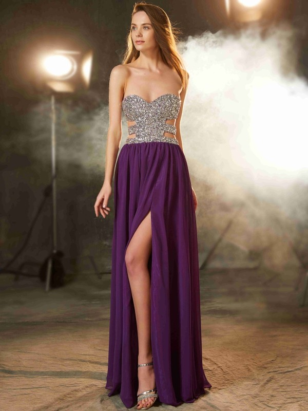 A-Line Chiffon Sweetheart Sleeveless Floor-Length With Crystal Dresses