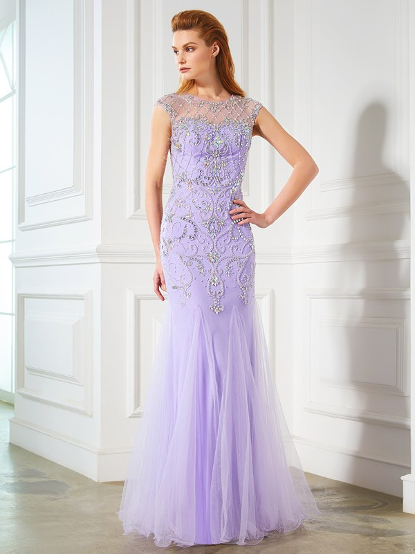 Mermaid Tulle Scoop Sleeveless Floor-Length With Beading Dresses