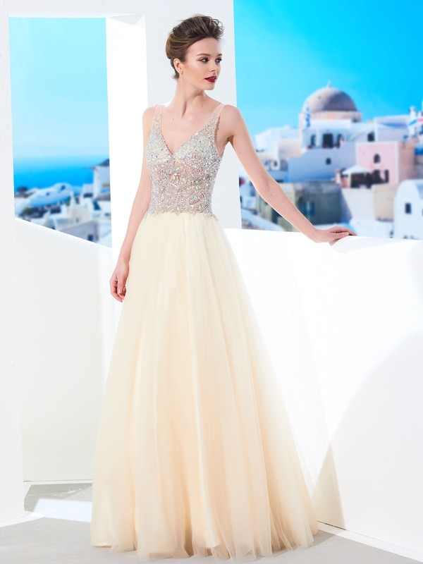 Ball Gown Tulle V-neck Sleeveless Floor-Length With Beading Dresses