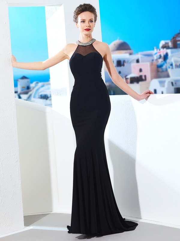 Sheath Spandex Jewel Sleeveless Sweep/Brush Train With Beading Dresses