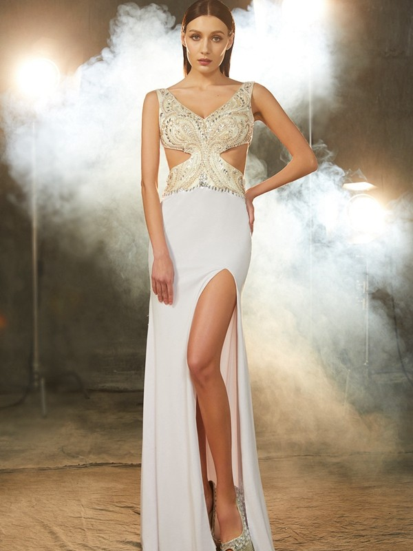 Sheath Spandex V-neck Sleeveless Floor-Length With Beading Dresses