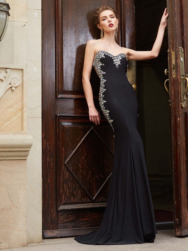 Sheath Spandex Sweetheart Sleeveless Sweep/Brush Train With Sequin Dresses