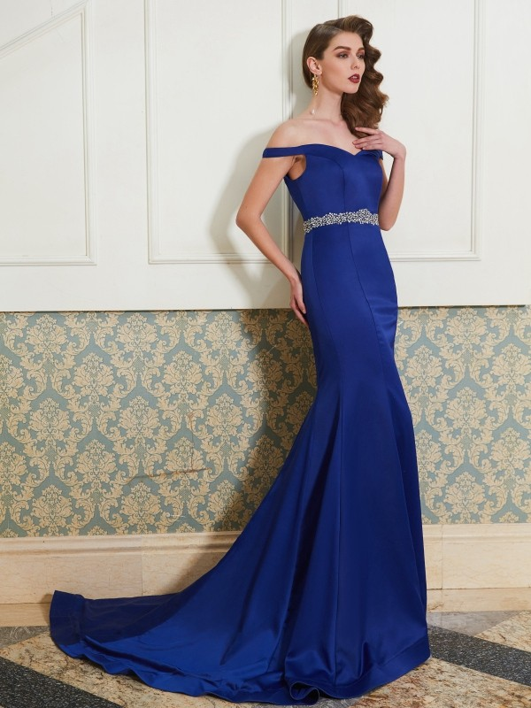 Mermaid Satin Off-the-Shoulder Sleeveless Sweep/Brush Train With Crystal Dresses