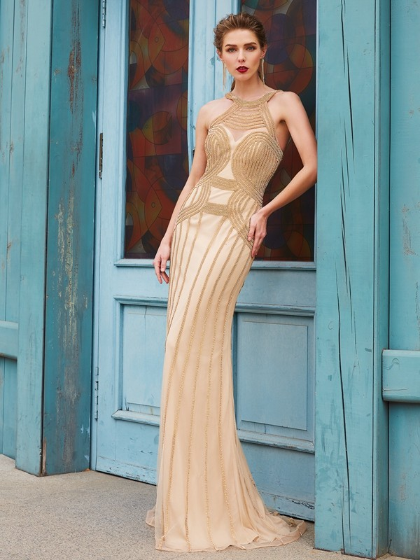 Sheath Net High Neck Sleeveless Sweep/Brush Train With Beading Dresses